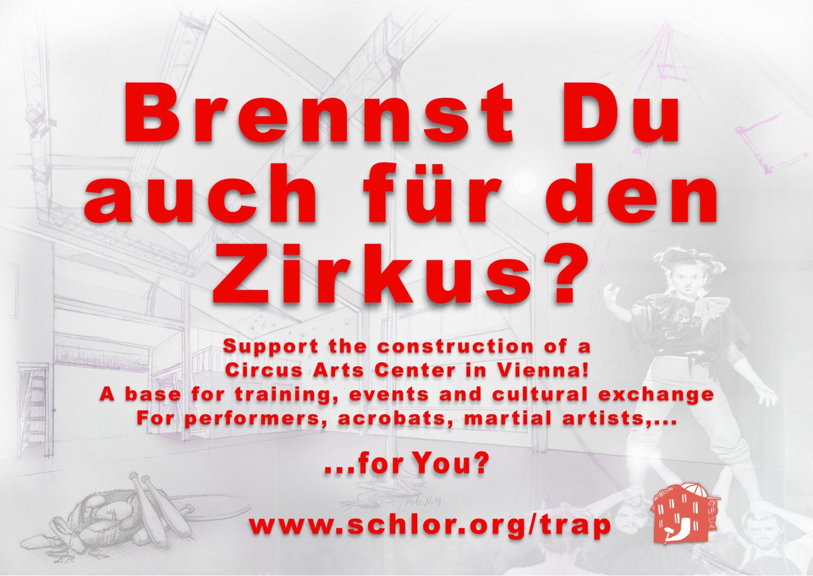 Postkarte A6: Brennst Du auch für den Zirkus? TRAP – Trainingszentrum Rappachgasse